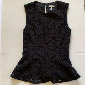 Joie black top XS  lace crochet sleeveless peplum